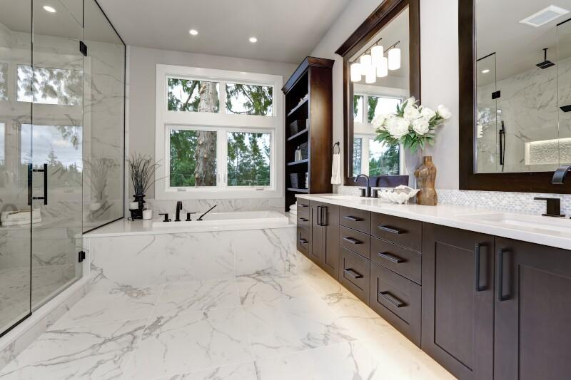 Accessories provide both beauty and function to the newly remodeled bathroom.