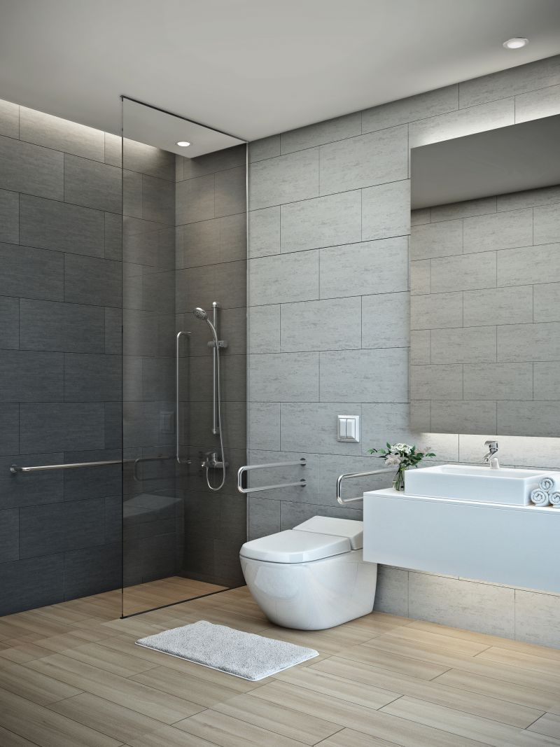 Handicap bathrooms are becoming a desired feature in homes. 